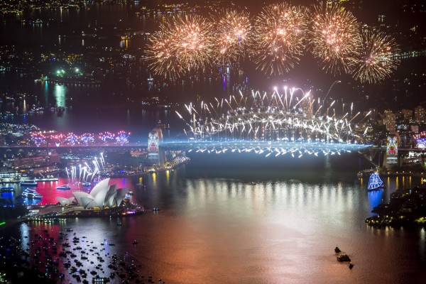 Photographed by James Morgan, these extoraordinary images photographed from above at 2500 feet capture the magnificent Ney Years Eve fireworks above the sydney Harbour Bridge and Opera House as over a million people throng the Harbour to bring in the New Year.