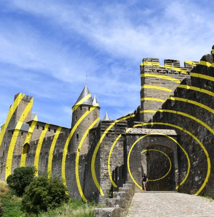 Felice Varini Art work at Carcassonne Fort, France