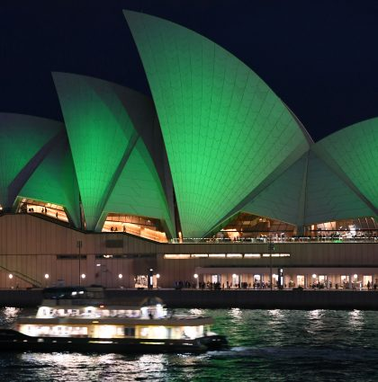 Opera House Sails Turn Green – Sydney, Australia