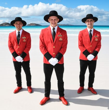Cunard Bellboys Show Off New Uniform Across Nullarbor