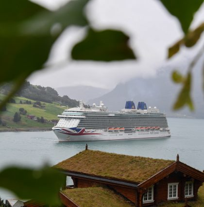 P&O's Britannia Sails Into Fjord – Olden, Norway